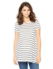 A-line Maternity Tunic, White/Black
