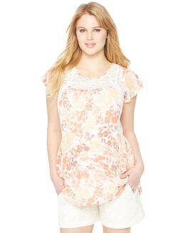 Flutter Sleeve Lace Detail Maternity Blouse, Floral Print
