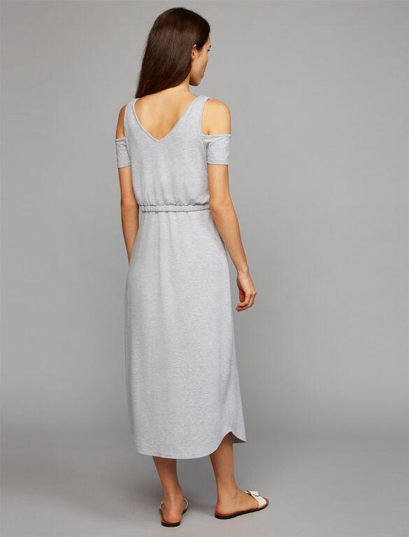 Pull Down Cold Shoulder Nursing Dress, Heather Grey