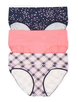 Maternity Fold Over Panties (3 Pack)- Floral/Pink/Plaid, Floral/Pink/Stripe