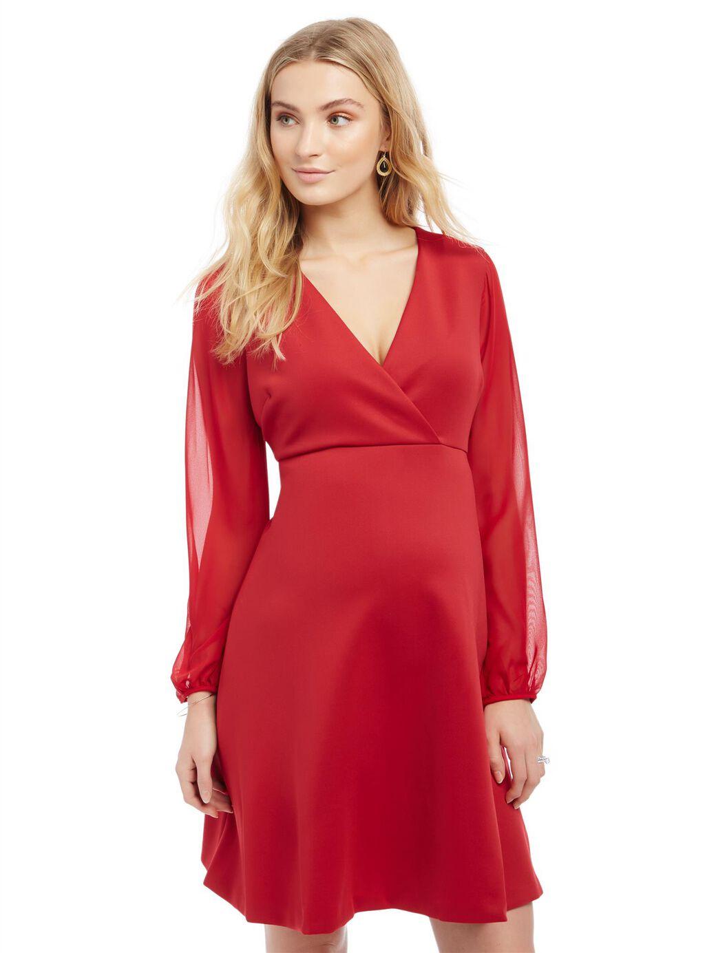 Sheer sleeve maternity dress motherhood maternity sheer sleeve maternity dress red ombrellifo Image collections