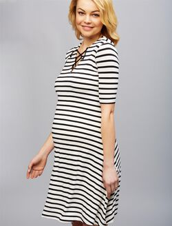 Isabella Oliver Nia Tie Maternity Dress, Black/White Stripe