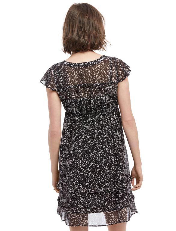 Ruffle Front Maternity Dress- Black Dot, Black Dot