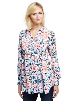 Front Pocket Maternity Shirt, Watercolor White