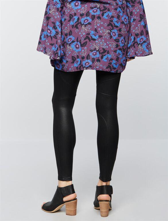 David Lerner Secret Fit Belly Faux Leather Maternity Leggings-Black, Black