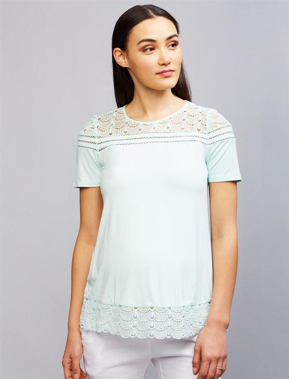 Daniel Rainn Lace Trim Maternity Shirt, Moonlight Jade