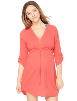 Tie Detail Maternity Swim Cover-up, Red
