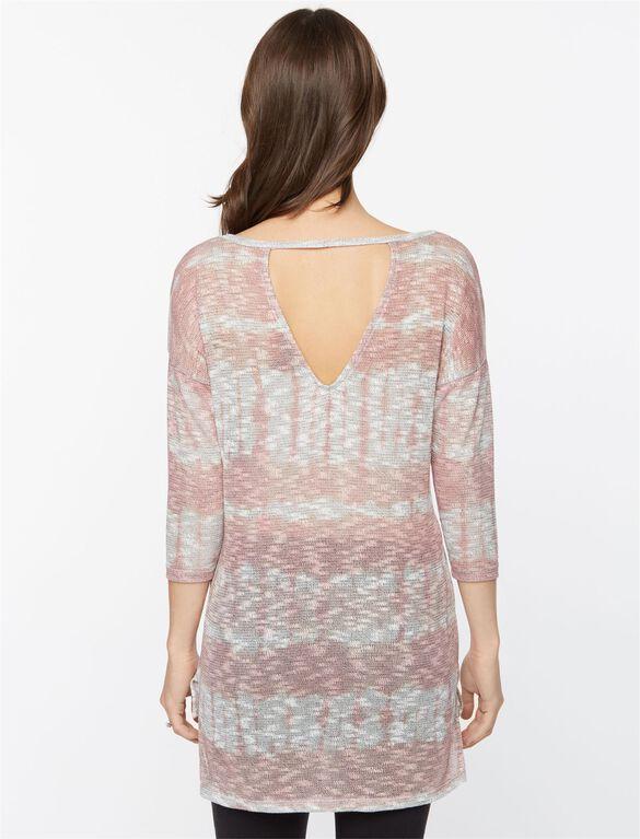 Hacci Back Keyhole Maternity Top, Mauve/Rose Tie Dye