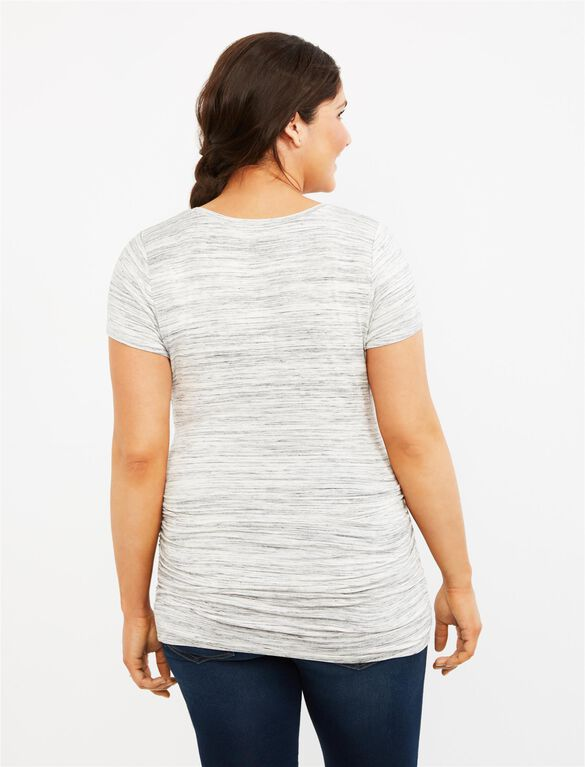 Spacedye Side Ruched Maternity Tee- Grey, Grey Spacedye