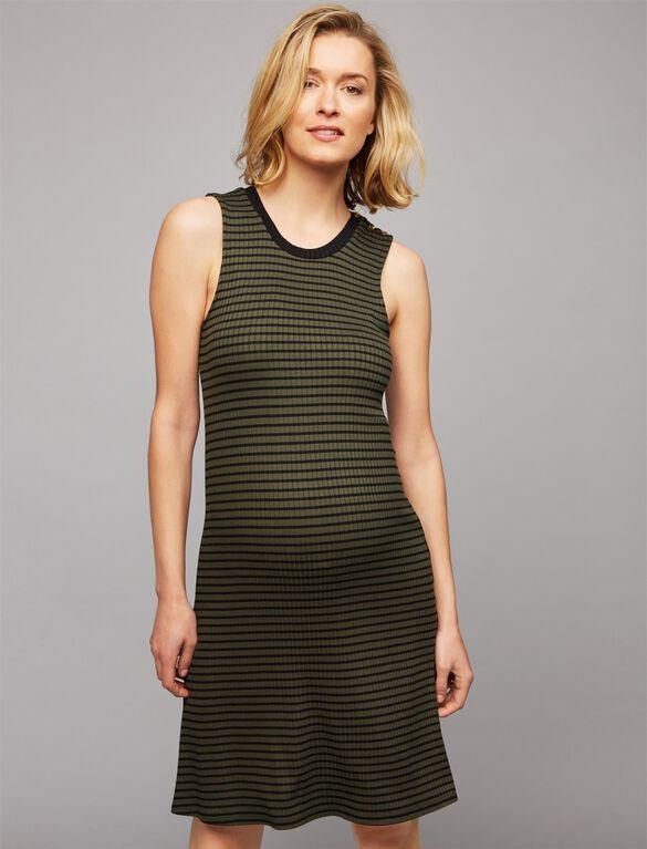 Three Dots Button Detail Maternity Dress, Olive Stripe