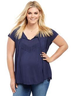 Plus Size Lace Trim Maternity Blouse, Navy