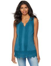 Crochet Detail Maternity Tank, Deep Turquoise