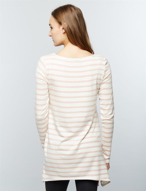 Super Soft Maternity Sweatshirt, Stripe Pink/Cream
