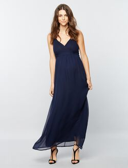 Pietro Brunelli Ruched Maternity Maxi Dress, Navy