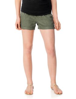 Pull On Style Cuffed Maternity Shorts, Olive