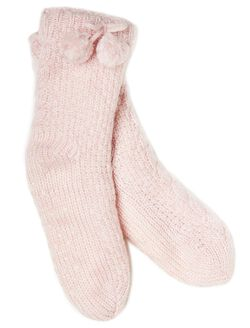 Pull On Slipper Socks, Pink