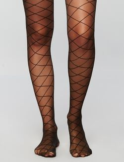 Diamond Print Sheer Hose, Black
