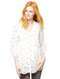 3/4 Sleeve Maternity Blouse, White Feather Print