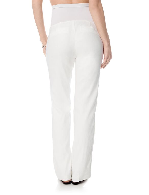 Secret Fit Belly Linen Blend Boot Cut Maternity Pants, White