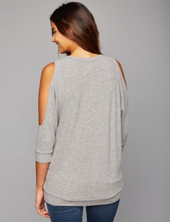 Chaser Cold Shoulder Knit Maternity Top, Grey