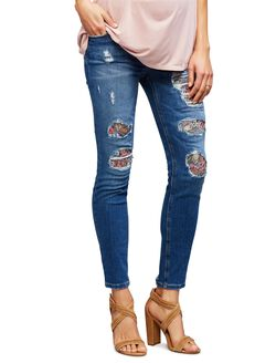 Joe's Jeans Secret Fit Belly Destructed Maternity Jeans, Mediun Wash