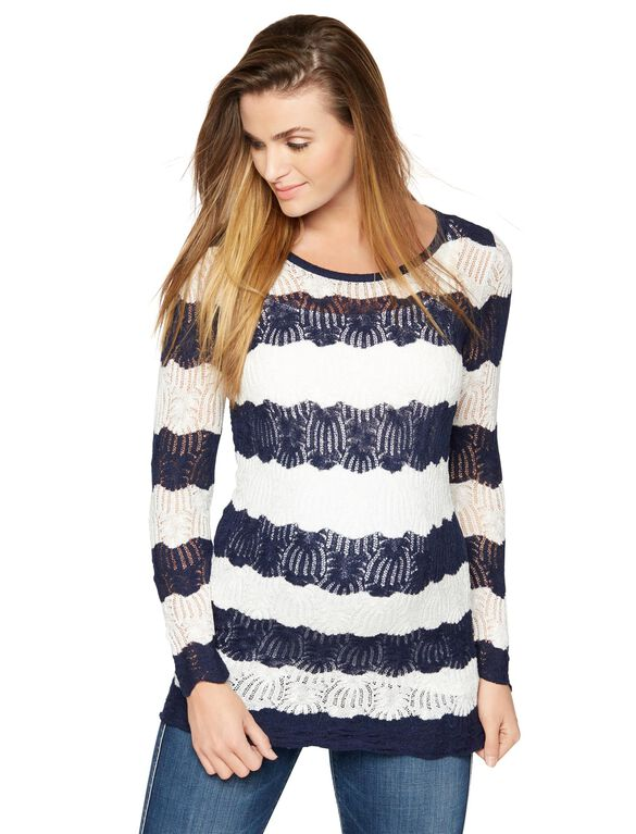 Lace Maternity Sweater, Blue/White Stripe