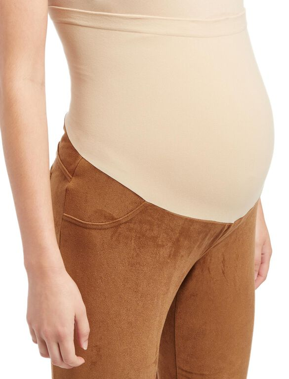 Secret Fit Belly Faux Suede Skinny Leg Maternity Pants, Barrel Brown