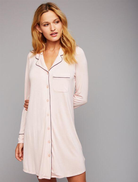 Button Front Nursing Nightgown, Blush