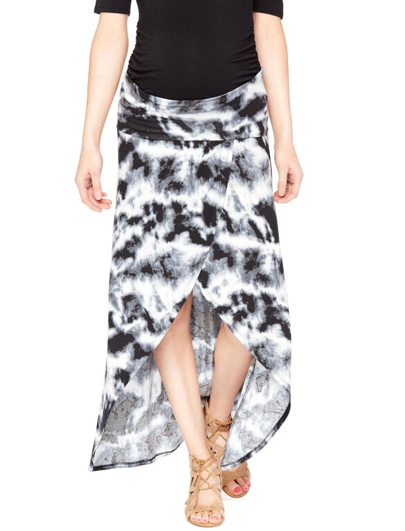 Secret Fit Belly Tie Dye Maternity Skirt, Grey Tie Dye