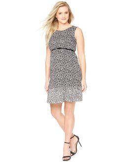 Sleeveless Printed Maternity Dress, Black And White