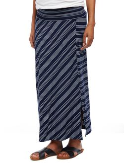 Fold Over Belly Front Slit Maternity Maxi Skirt, Navy/White Stripe