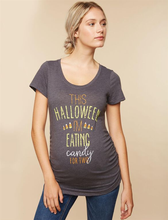 Eating Candy For Two Maternity Tee, Gray