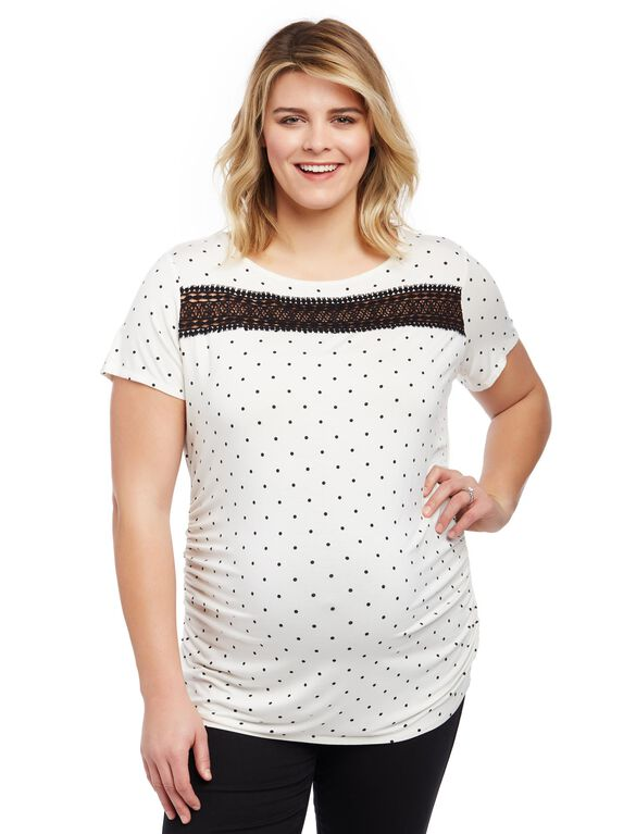 Plus Size Lace Detail Side Ruched Maternity Tee, Egret/Black Dot