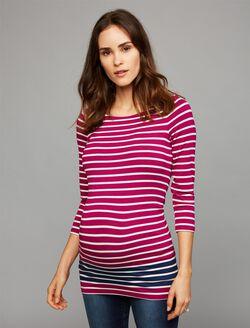 Maternity Top, Fuschia/White/Navy Stripe