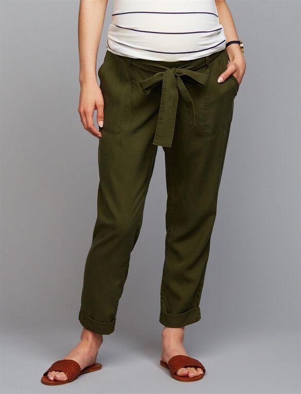 Under Belly Skinny Leg Maternity Crop Pants, Olive