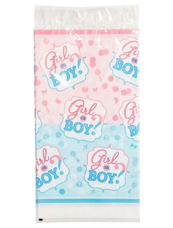 Girl or Boy Gender Reveal Plastic Tablecloth, Pink/Blue