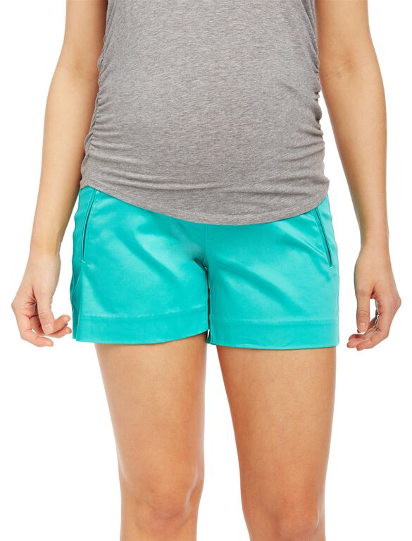 Secret Fit Belly Sateen Maternity Shorts- Solid, Atlantis Green