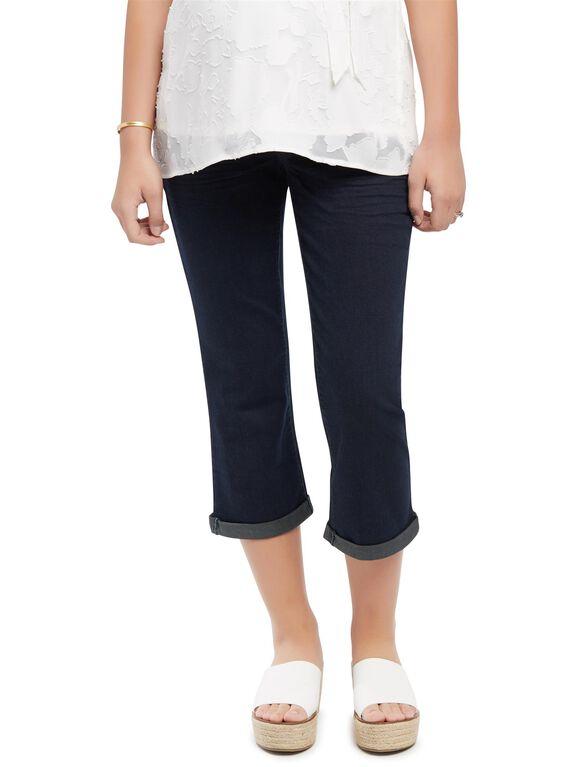 Indigo Blue Secret Fit Belly Dark Maternity Crop Jeans, Dark Wash