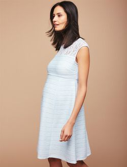 Lace Detail Maternity Dress, Glacier Blue