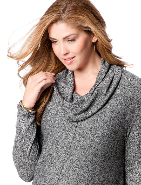 Hanky Hem Maternity Sweater, Black Marl