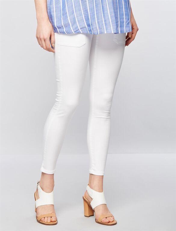 Luxe Essentials Denim Addison Maternity Skinny Jeans, White