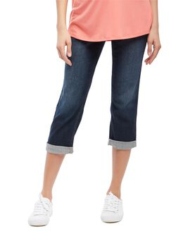 Secret Fit Belly Cuffed Straight Leg Maternity Crop Jeans, Dark Wash