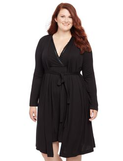 Plus Size Nursing Nightgown And Robe Sleep Set, Black