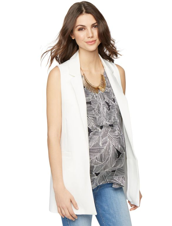 Open Front Crepe Maternity Vest, White