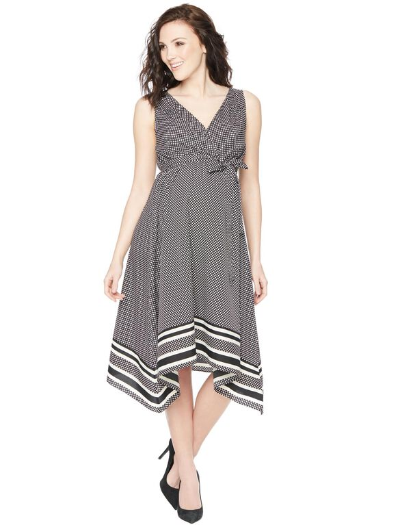 Belted Hanky Hem Maternity Dress, Black And White