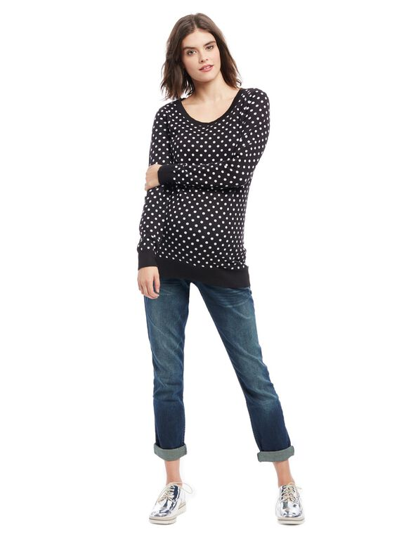 Dot Maternity Sweater, Black/White