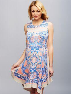 BCBGMAXAZRIA Uneven Hem Maternity Dress, BLUE PRINT