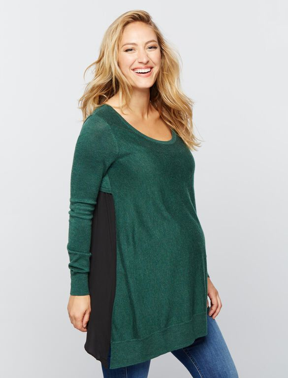 Knit Woven Maternity Sweater, Deep Ivy