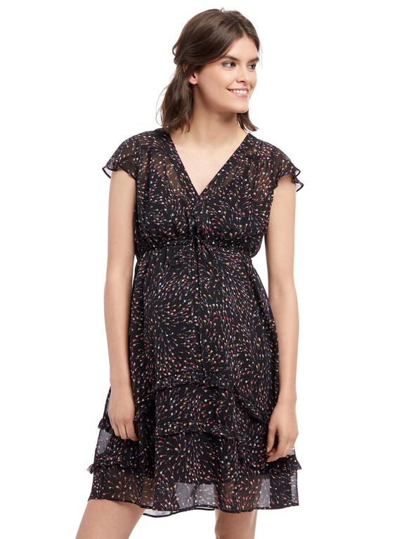 Ruffle Front Maternity Dress, Multi Print
