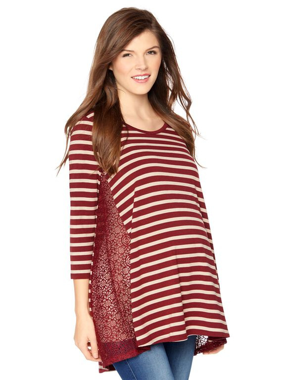 Lace Inset Swing Maternity Top, Zinfindel
